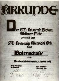 1988: Die Ortsvereine Altenstadt und Bochum Weitmar-Mitte gehen eine Patenschaft ein.